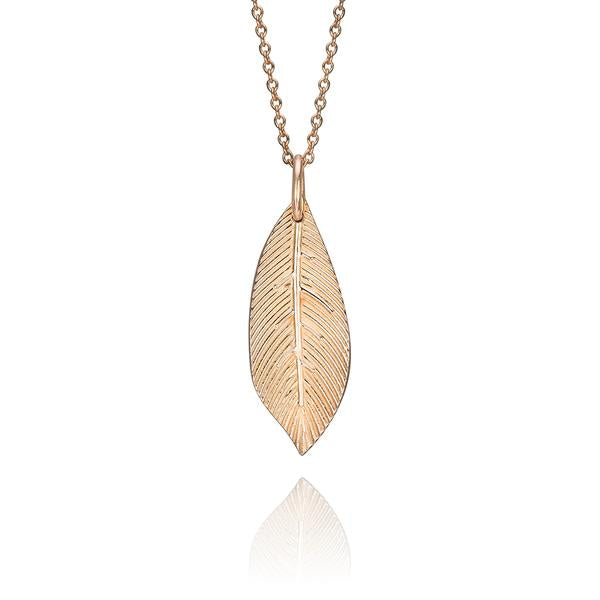 lafia goddess feather pendant necklace in 14 karat rose gold