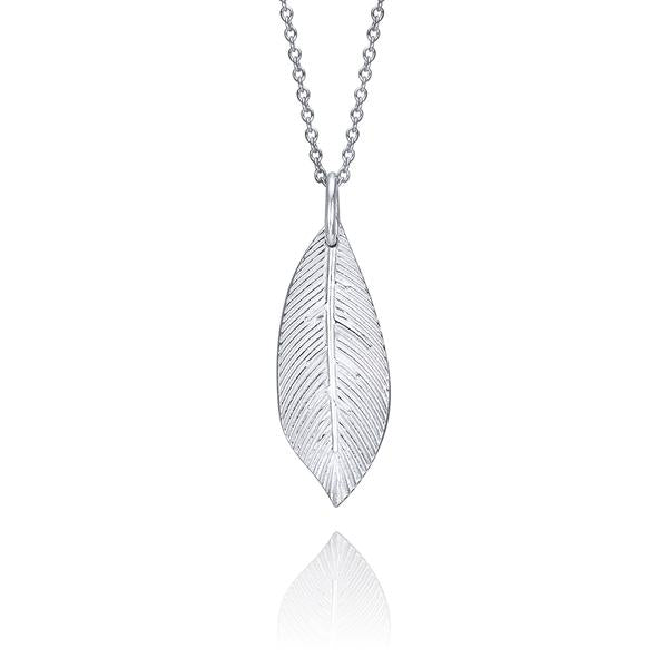 lafia goddess feather pendant necklace in 14 karat white gold