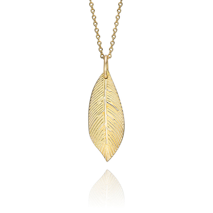 lafia goddess feather pendant necklace in 14 karat yellow gold