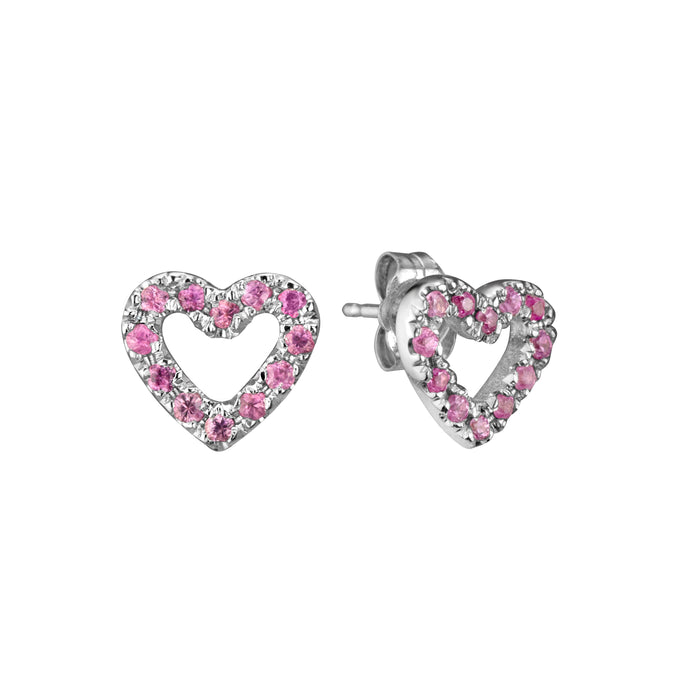 Limited Edition Open Heart Studs in 14k white gold set with 24 pink sapphires per pair