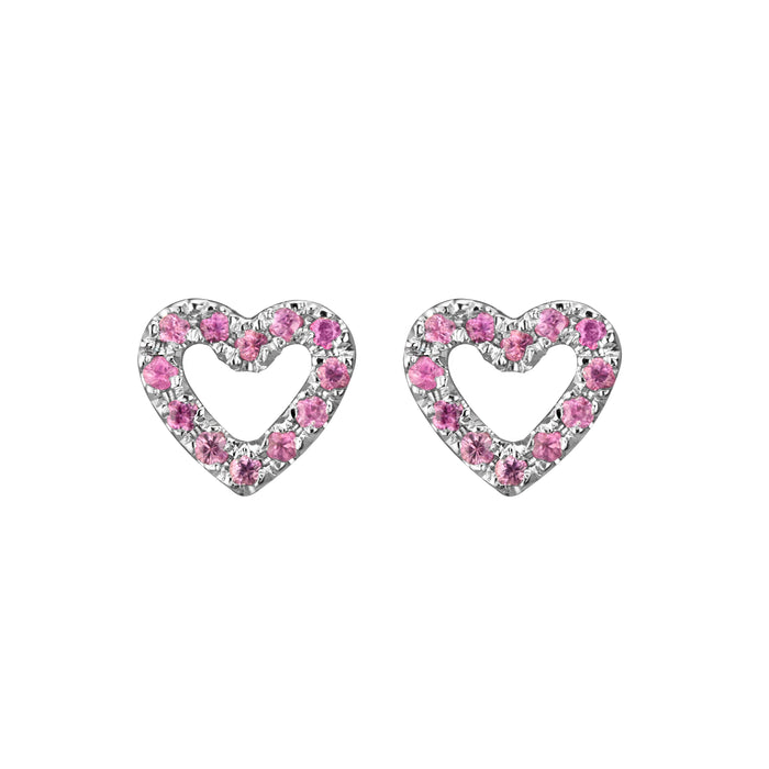 Limited Edition Open Heart Studs in 14k white gold set with 24 pink sapphires per pair - face on
