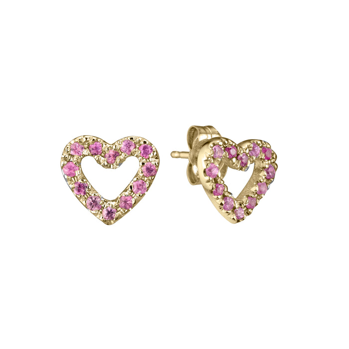 Limited Edition Open Heart Studs in 14k yellow gold set with 24 pink sapphires per pair