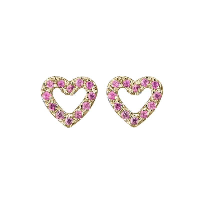 Limited Edition Open Heart Studs in 14k yellow gold set with 24 pink sapphires per pair - face on