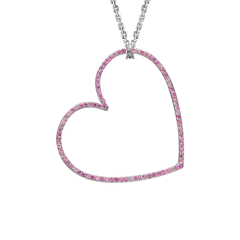Heart charm large pink sapphire in white gold on oval link chain, or amethyst, blue topaz, citrine, emerald, ruby, rainbow or black diamonds