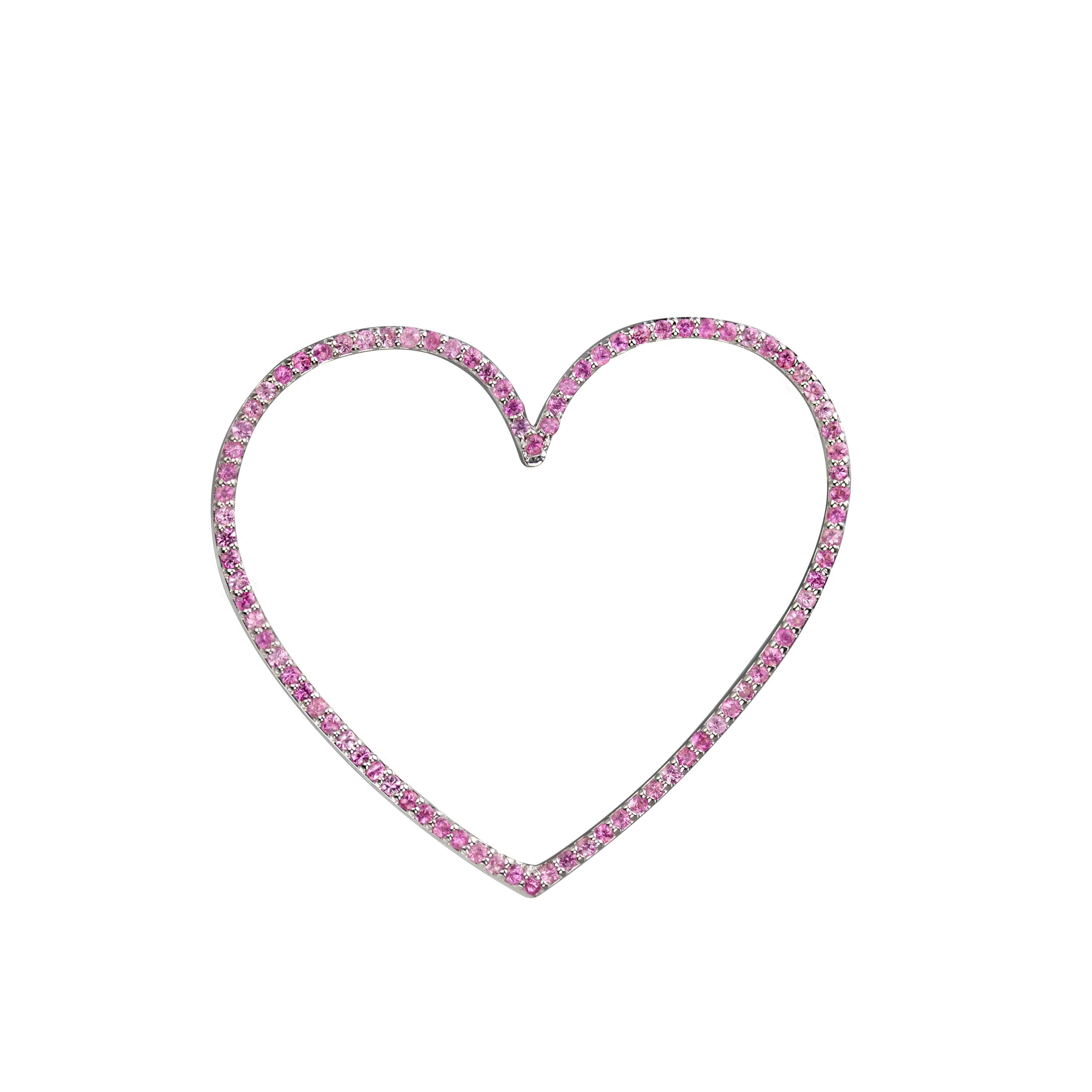 Heart charm large pink sapphire in white gold, or amethyst, blue topaz, citrine, emerald, ruby, rainbow or black diamonds