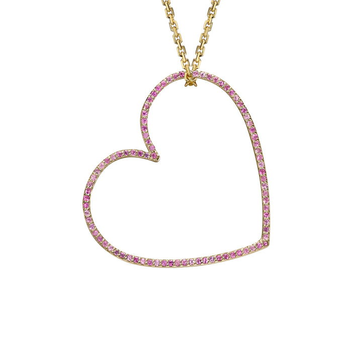 Heart charm large pink sapphire in yellow gold on oval link chain, or amethyst, blue topaz, citrine, emerald, ruby, rainbow or black diamonds