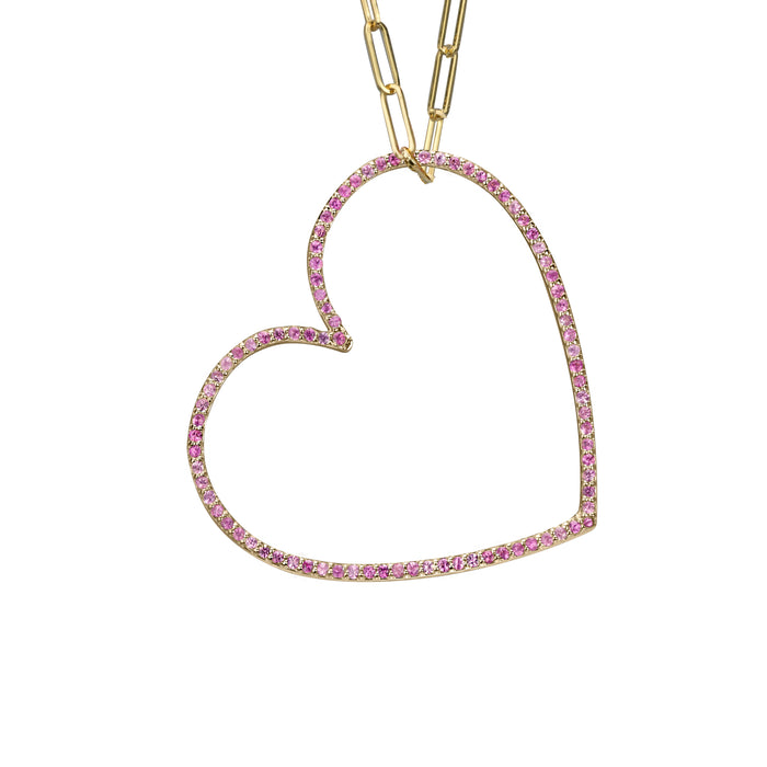 Heart charm large pink sapphire in yellow gold medium paperclip chain, or amethyst, blue topaz, citrine, emerald, ruby, rainbow or black diamonds