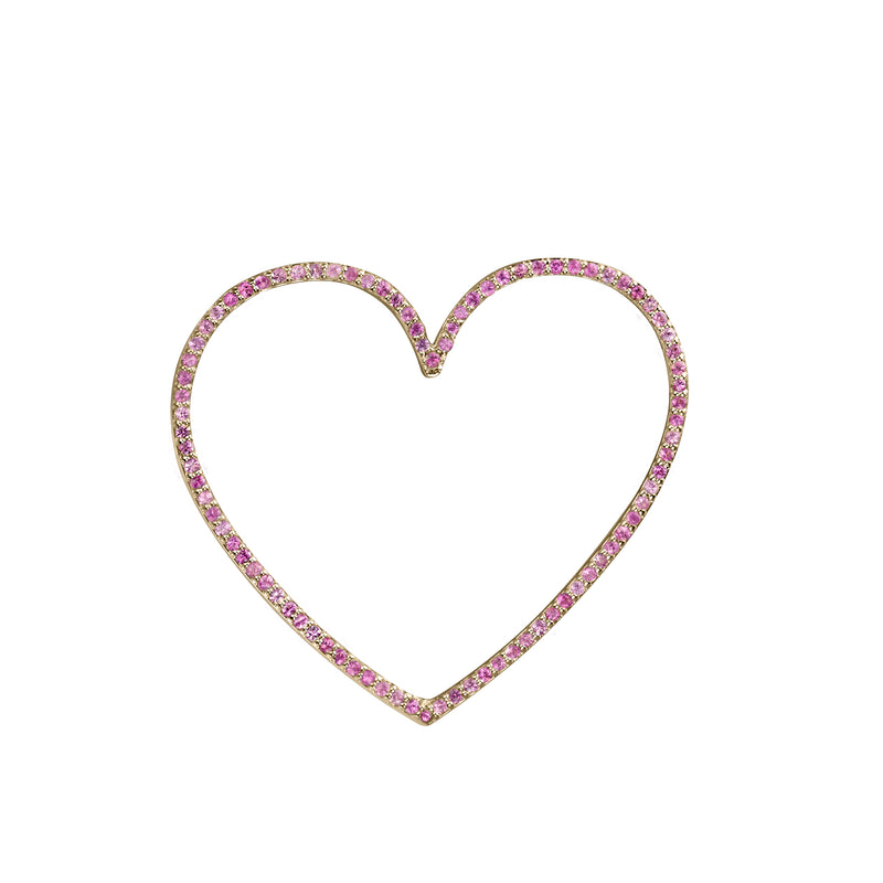 Heart charm large pink sapphire in yellow gold, or amethyst, blue topaz, citrine, emerald, ruby, rainbow or black diamonds