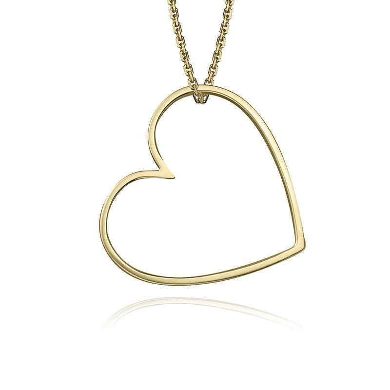 lafia charm collection large heart necklace on oval channel chain set in yellow 14k gold