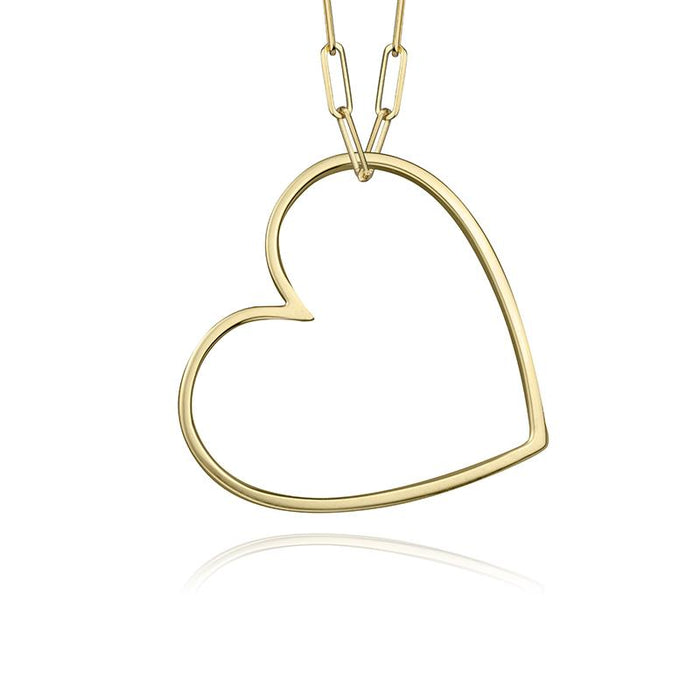 lafia charm collection large heart necklace on paper clip chain set in yellow 14k gold