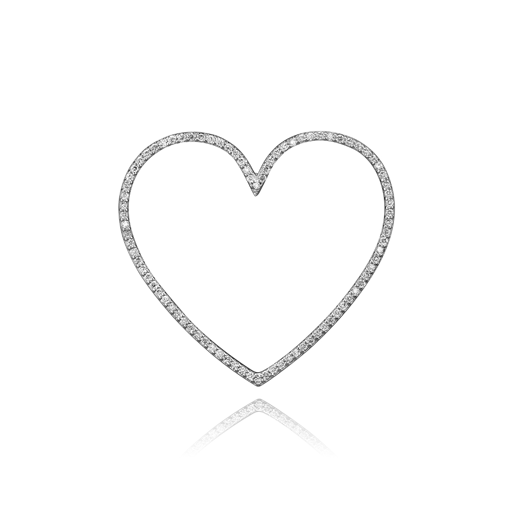 lafia charm collection large diamond heart in white 14k gold