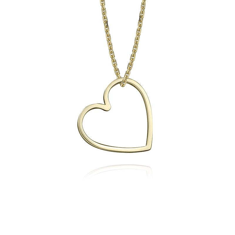 lafia charm collection small heart necklace on oval channel chain set in yellow 14k gold