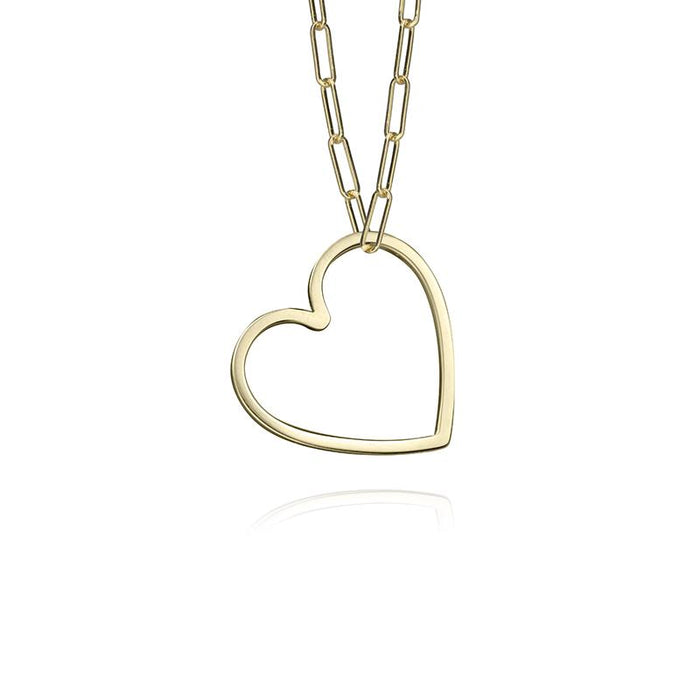 lafia charm collection small heart necklace on paper clip chain set in yellow 14k gold