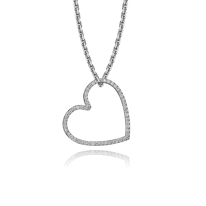 lafia charm collection small heart necklace on oval channel chain set in white 14k gold