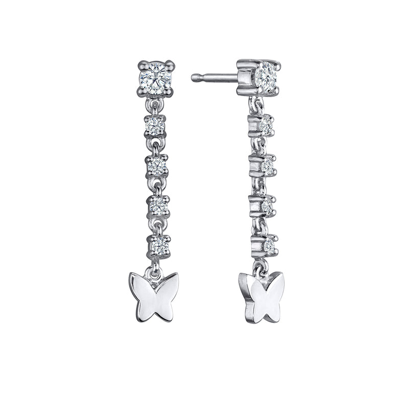 lafia diamond drop butterfly earrings in 14 karat white gold
