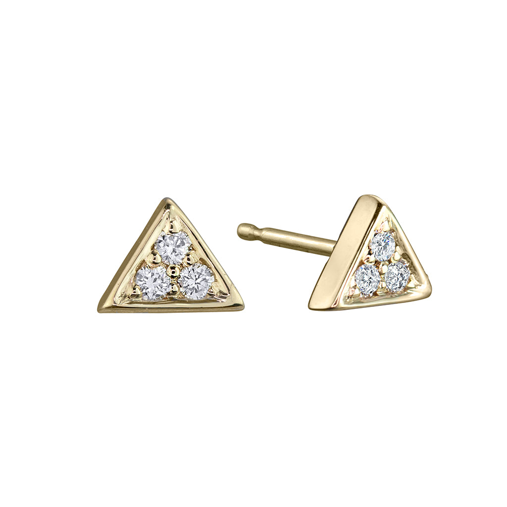lafia mini diamond triangle stud yellow gold