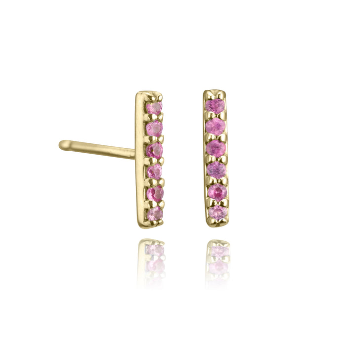 lafia straight and narrow pink sapphire line stud yellow gold