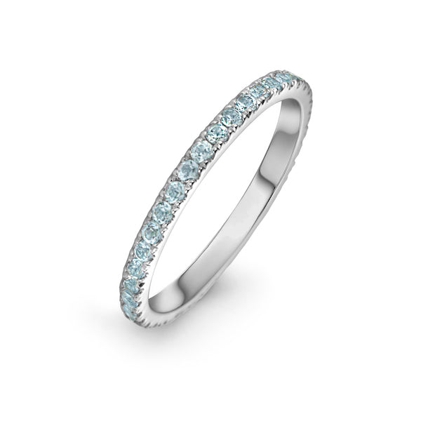 lafia straight and narrow channel set blue topaz eternity ring 14 karat white gold