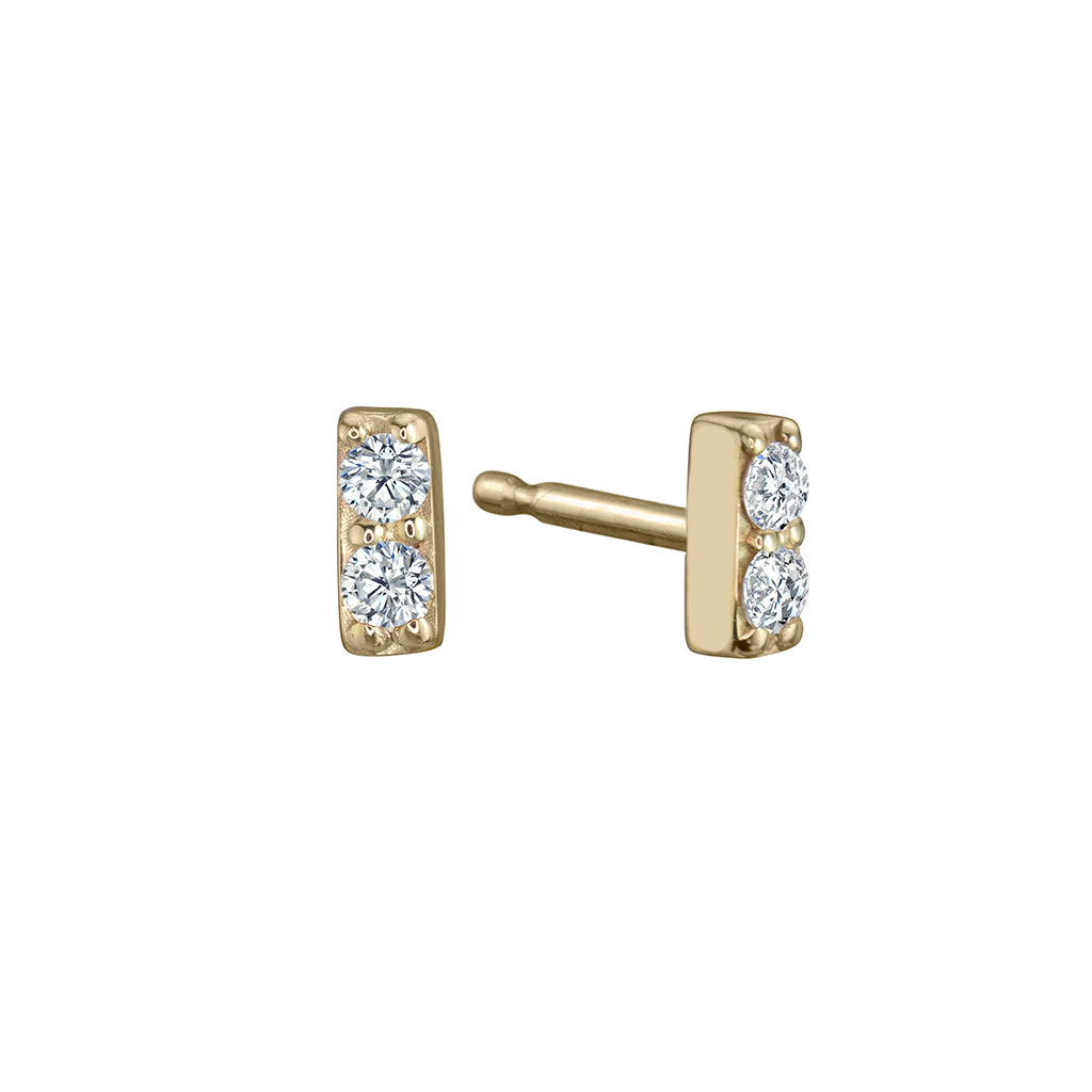lafia mini diamond line stud yellow gold
