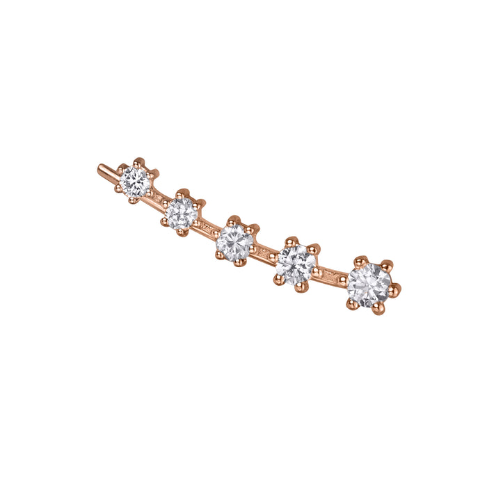 lafia goddess diamond 5 star ear climber rose gold