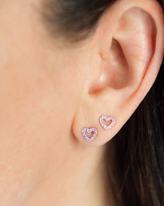 New Limited Edition Heart Studs in 14k gold with pink sapphires on ear