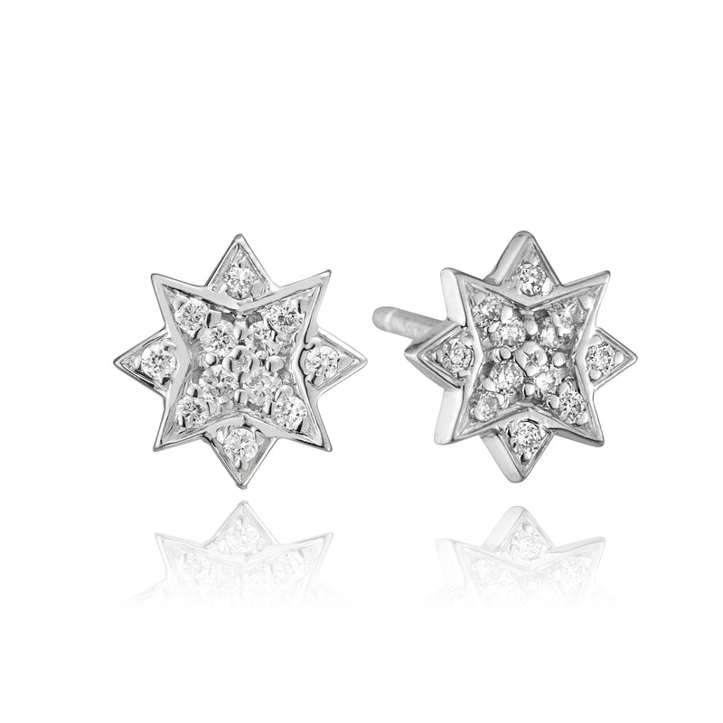 lafia stud collection diamond starburst stud 14 karat white gold