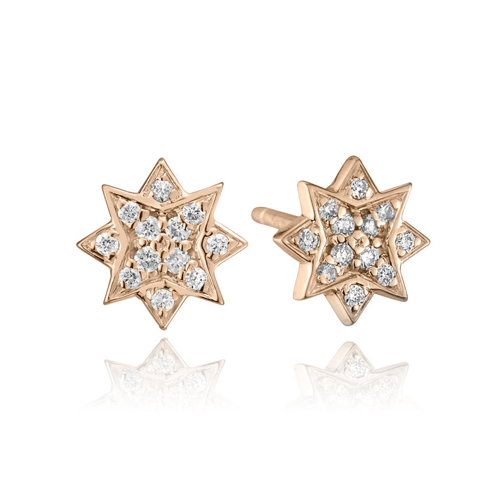lafia stud collection diamond starburst stud 14 karat rose gold