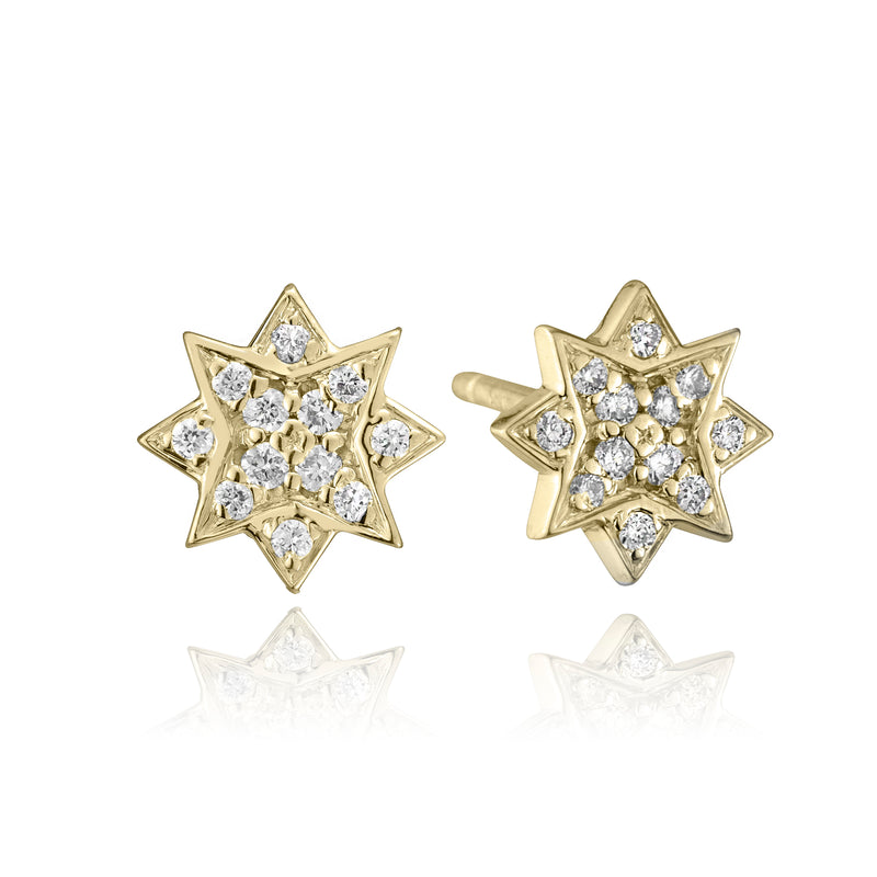 lafia stud collection diamond starburst stud 14 karat yellow gold