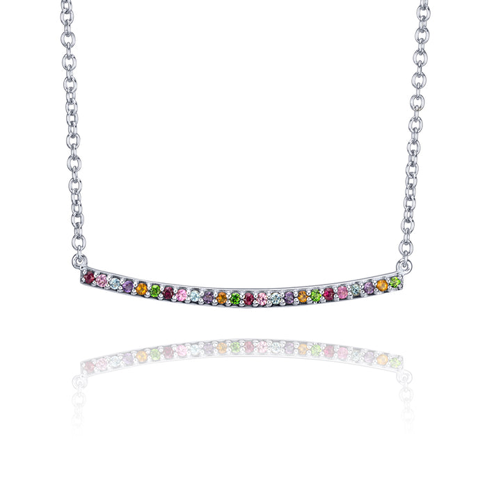 lafia straight and narrow rainbow narrow necklace 14 karat white gold