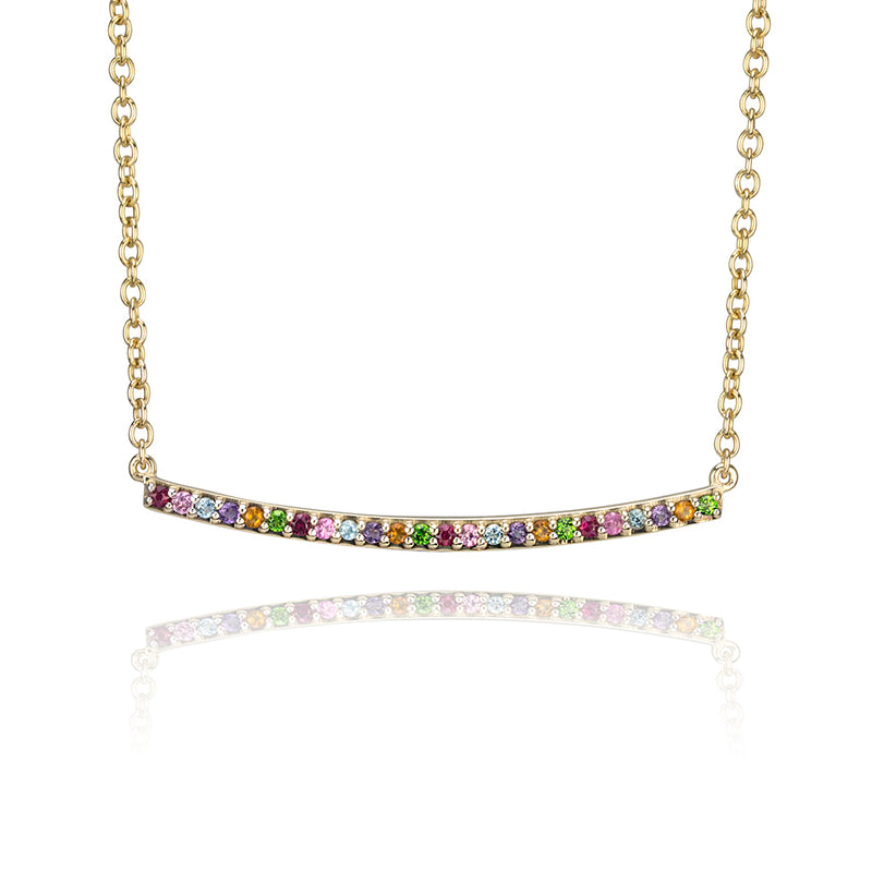lafia straight and narrow rainbow narrow necklace 14 karat yellow gold