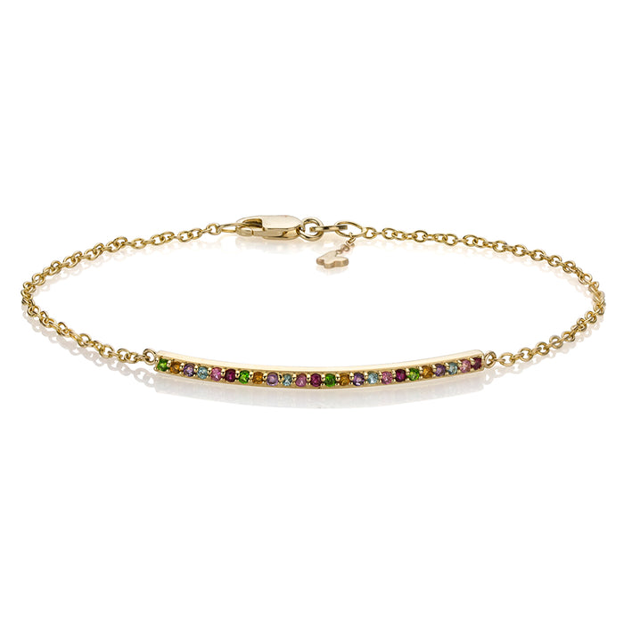 Lafia straight and narrow rainbow narrow bracelet yellow gold