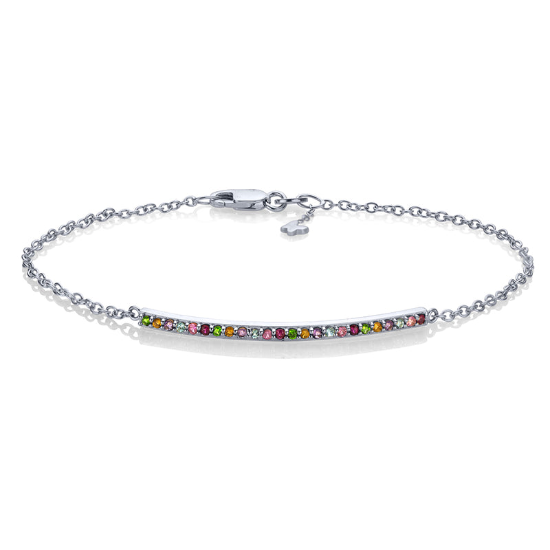 Lafia straight and narrow rainbow narrow bracelet white gold