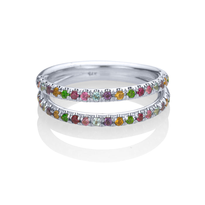 lafia straight and narrow rainbow double eternity ring white gold