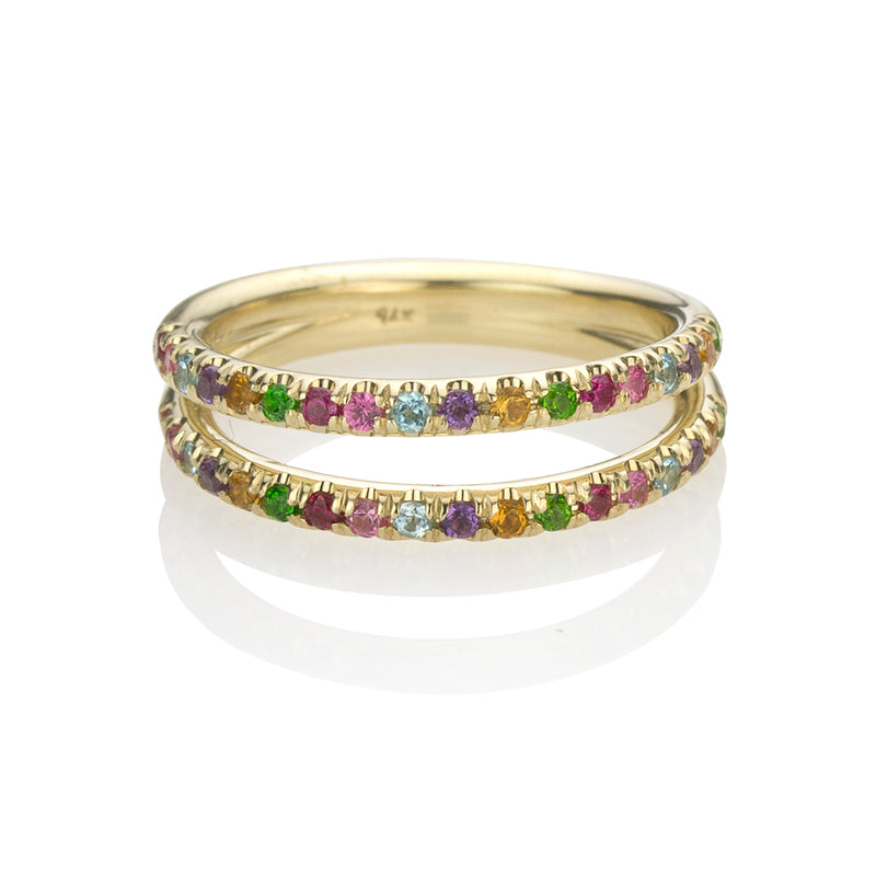lafia straight and narrow rainbow double eternity ring yellow gold