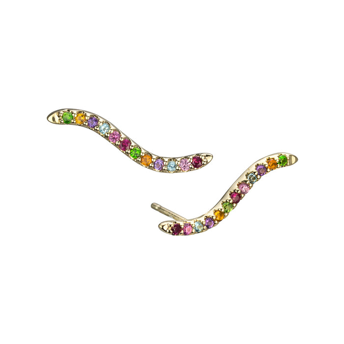 lafia straight and narrow and stud collection rainbow wave stud yellow gold