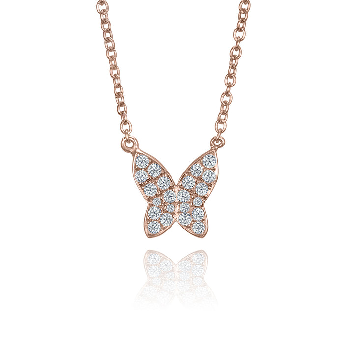 lafia collection diamond butterfly necklace rose gold