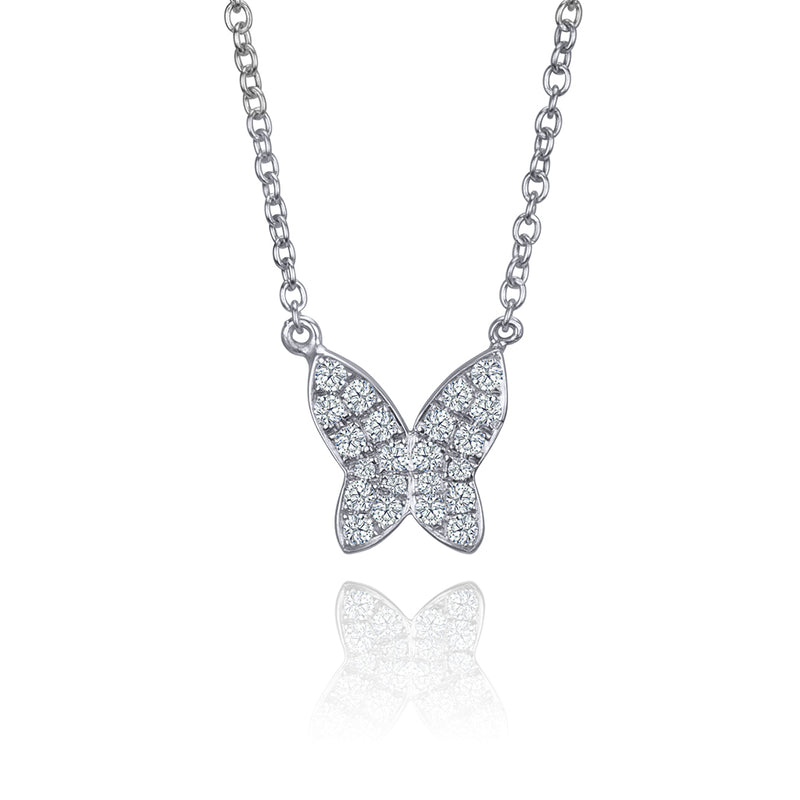 lafia collection diamond butterfly necklace white gold
