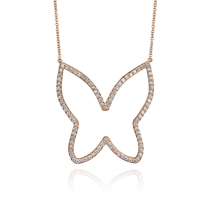 lafia collection diamond open butterfly necklace rose gold