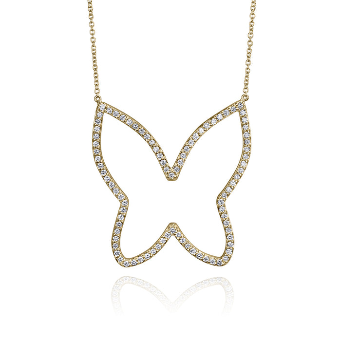 lafia collection diamond open butterfly necklace yellow gold