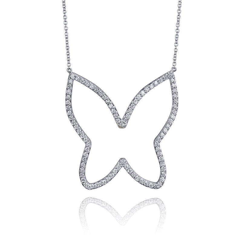 lafia collection diamond open butterfly necklace white gold