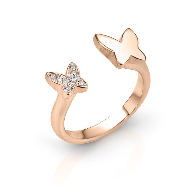 lafia collection diamond open butterfly ring in rose gold