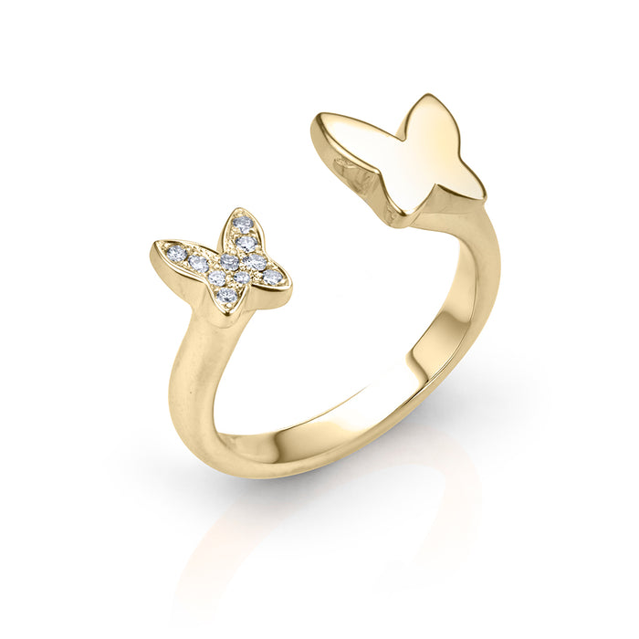 lafia collection diamond open butterfly ring in yellow gold