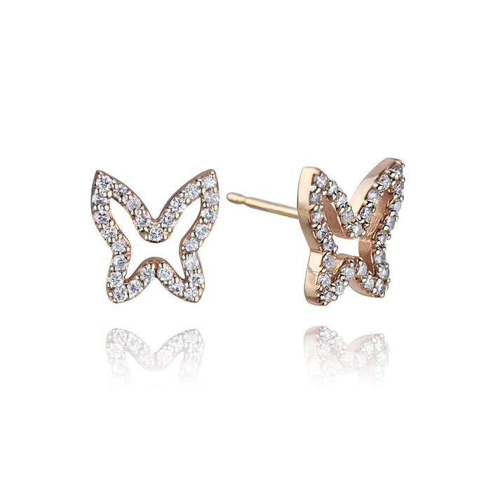 lafia collection diamond open butterfly studs in rose gold