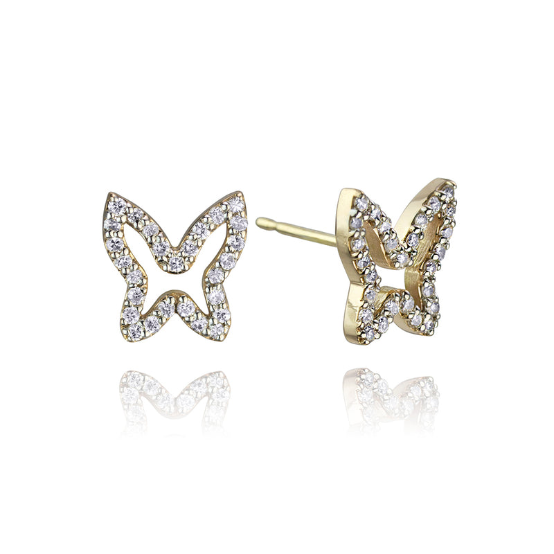 lafia collection diamond open butterfly studs in yellow gold
