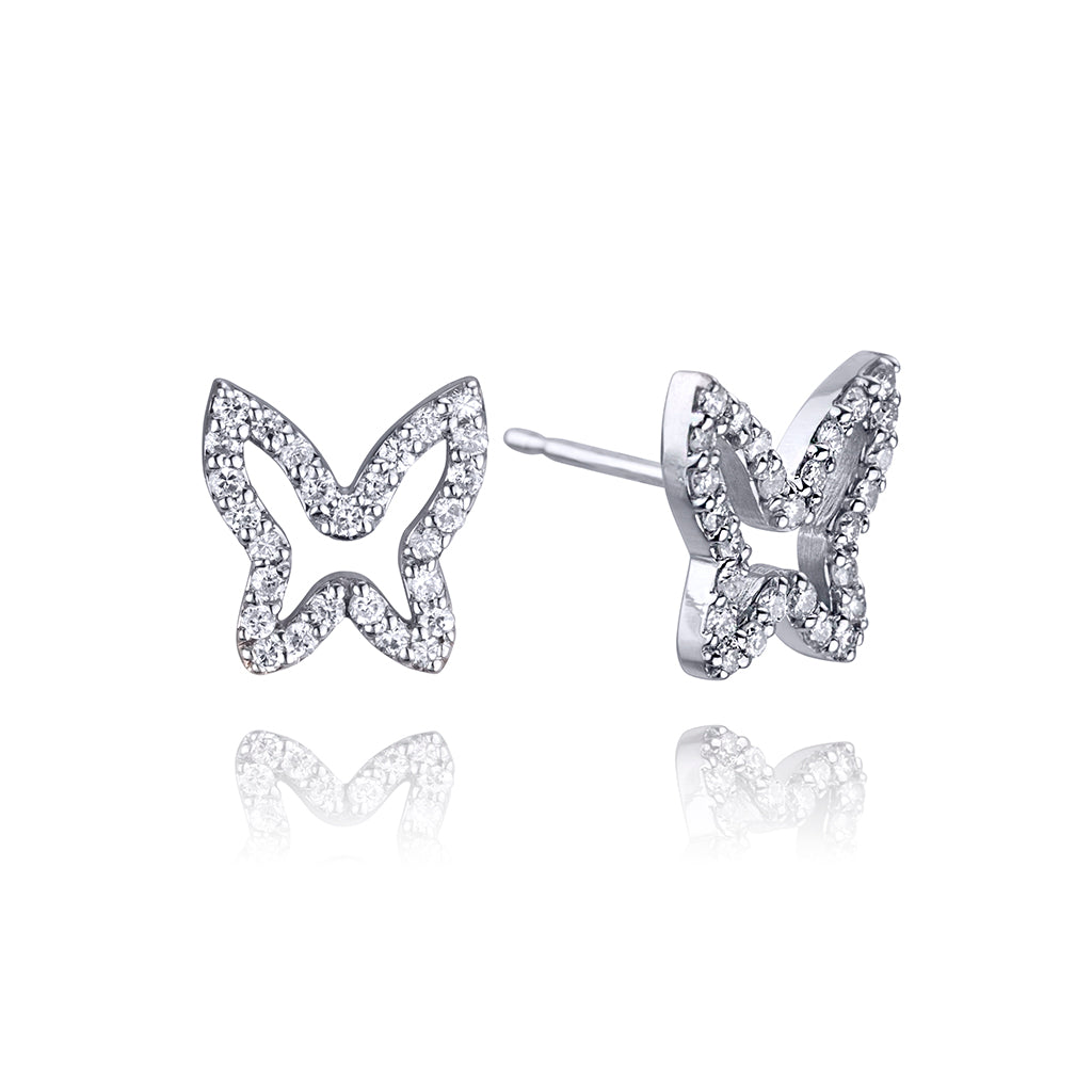 lafia collection diamond open butterfly studs in white gold