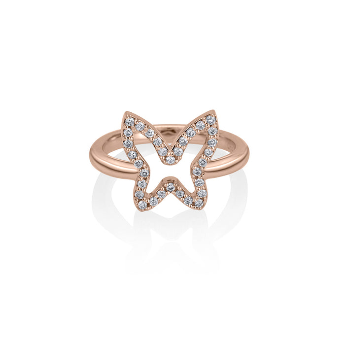 lafia collection diamond open butterfly ring in 14 karat rose gold