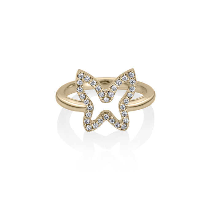 lafia collection diamond open butterfly ring in 14 karat yellow gold