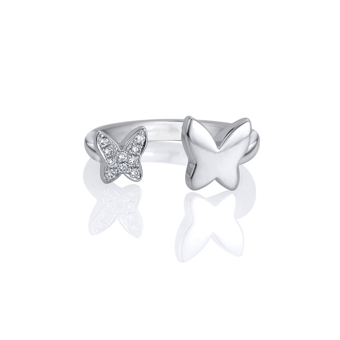 lafia collection diamond open butterfly ring in white gold