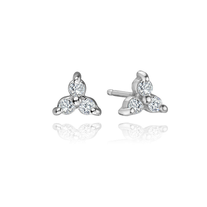 lafia goddess collection three diamond point studs in 14k white gold