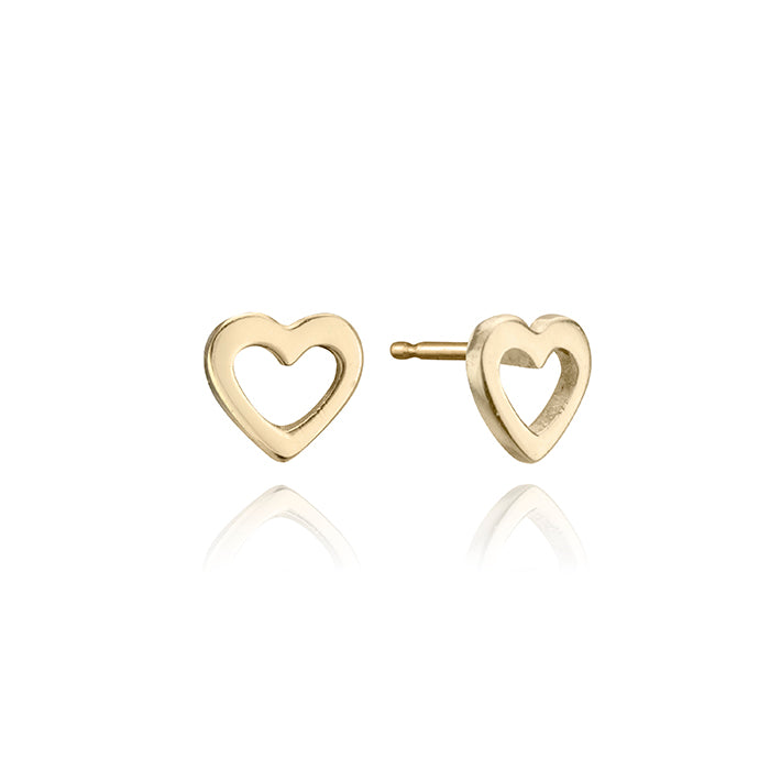 lafia mini stud collection mini open heart stud yellow gold